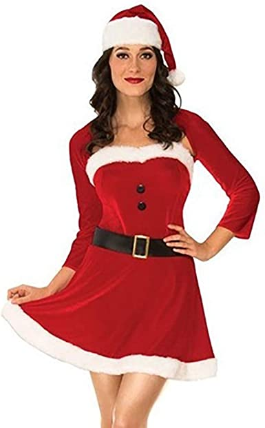 WARMWORD Disfraz Miss Santa Navidad Vestido Capucha ...