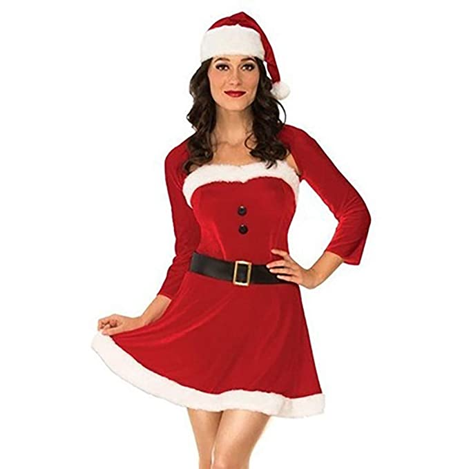 WARMWORD Disfraz Miss Santa Navidad Vestido Capucha Cosplay ...