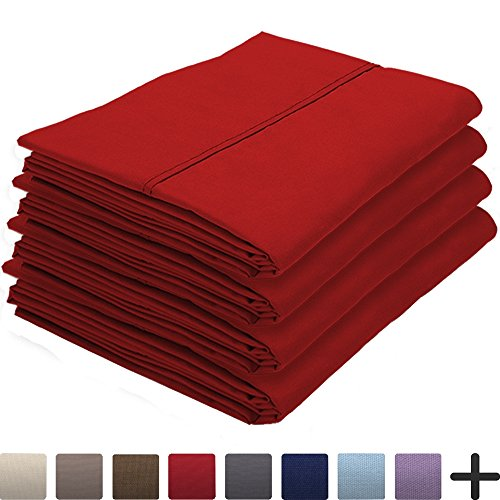 4 Pillowcases - Premium 1800 Ultra-Soft Collection - Bulk Pack - Double Brushed - Hypoallergenic - Wrinkle Resistant - Easy Care (King - 4 Pack, Red)