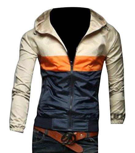 Honey GD Mens Trench Coat Jacket Classic Thin Hoodie Jackets Overcoat Khaki M
