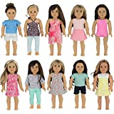 """PZAS Toys 18 Inch Doll Clothes - Wardrobe Makeover, 10 Outfits, Fits 18"""" Doll Clothes, Compatible with American Girl Doll Clothes and Other 18 Inch Doll Clothes"""