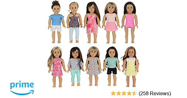af2b7f232b Amazon.com: PZAS Toys 18 Inch Doll Clothes - Wardrobe Makeover, 10 Outfits,  Fits American Girl Doll: Toys & Games