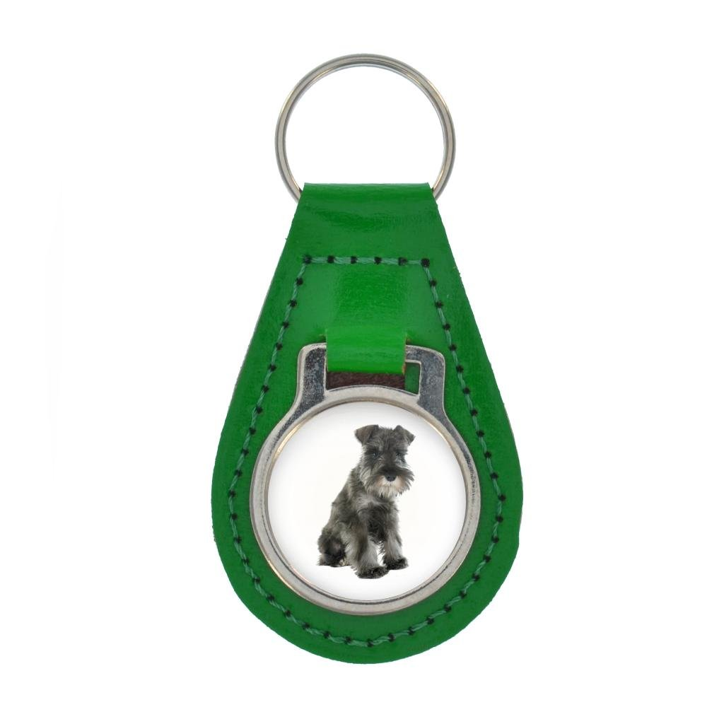Schnauzer PUPPY Image Keyring Gift Boxed - DARK BROWN LEATHER at Amazon Women's Clothing store: