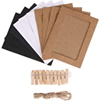 Mixed Colors Paper Photo Frame Set with Wooden Clip and String 30PCS/Set Wall Photo Frame Hanging Picture Album Party…