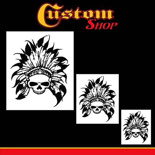 Custom Shop Airbrush Skeleton Skull Indian Chief Stencil Set (Skull Design #11 in 3 Scale Sizes) - Laser Cut Reusable Templates - Auto, Motorcycle Graphic Art Auto Airbrush Stencils
