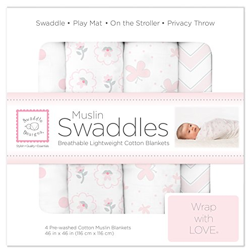 SwaddleDesigns Cotton Muslin Swaddle Blankets, Set of 4, Pastel Pink Butterfly Fun