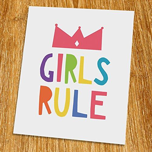 Girls rule Print (Unframed), Nursery Wall Decor, Scandinavian, Modern, Playroom Decor, Colorful, 8x10
