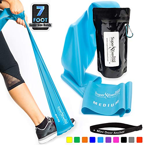 Super Exercise Band Medium+ Sky Blue 7 ft. Long Latex Free Resistance Bands Door Anchor Set, Carry Pouch, E-Book. for Home Gym, Strength Training, Physical Therapy, Yoga, Pilates, and Chair - Bands Flat Therapy