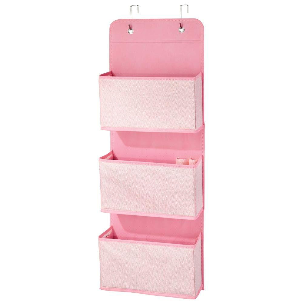 Para la habitaci/ón de los ni/ños rosa y blanco Percheros para puerta con 3 bolsillos grandes mDesign Organizador de armarios con motivo de espiga Colgador de ropa con ganchos para la puerta