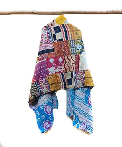 New Indian Cotton Kantha Fashion Scarf Reversible Bohemian Handmade Collar Wraps patchwork