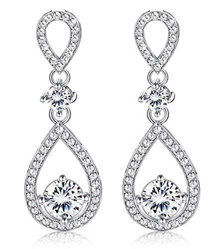 Udalyn Teardrop Dangle Wedding Earrings for Women Silver CZ Drop Earrings Prom Bridesmaid Jewelry Earrings by Udalyn (Image #7)