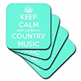 3dRose cst_173403_1 Keep Calm and Listen to Country Music Turquoise and White. Soft Coasters, Set of 4