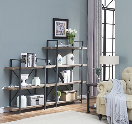 O&K Furniture 3-Shelf Industrial Bookcase and Book Shelves, Free Standing Storage Display Shelves, Brown by O&K Furniture (Image #2)