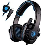 SADES SA901 Pro USB PC Gaming Headset 7.1 Surround Stereo headband Gaming headphones with Microphone Deep Bass Volume Controller with Mute function for Mac Computer Laptop PC Gamer(Black Blue)
