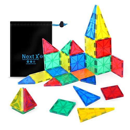 NextX Building blocks Toys 32 Pieces Clear 3D Magnetic Tile Set ,Early educational STEM Toys for boys and girls - Kid's Birthday Gift Idea (Girls Christmas Gift Ideas)