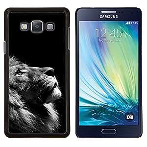 LECELL--Funda protectora / Cubierta / Piel For Samsung Galaxy A7 A7000 -- Arte León Foto Negro Blanco que mira para arriba --