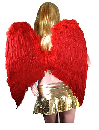 [SACASUSA (TM) Extra Large Feather Halloween Fairy Angel Wing in Red one size] (Sexy Fairy Halloween Costumes)