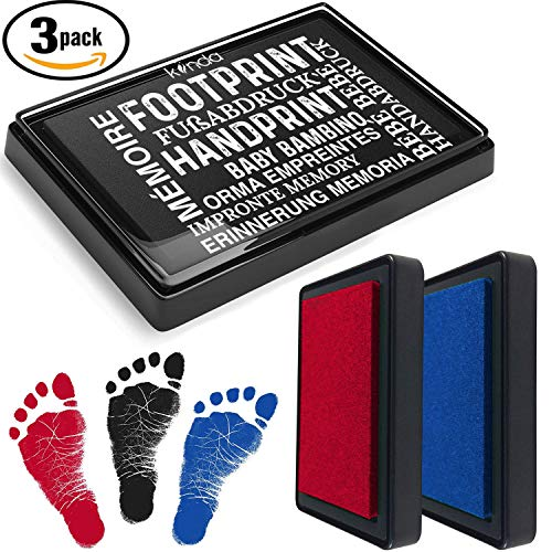 - Baby Ink Pad - Handprint & Footprint Newborn Kit - Set of 3 Print Stamps - Reusable Feet & Hands Stamps - 100% Non-Toxic - Smudge-Proof Designs - Ideal Family Memory (Black+Blue+Red)