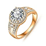 Daesar Gold Plated Rings Womens Round Cubic Zirconia Rings Promise Rings Size 9