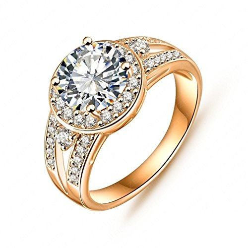 Daesar Gold Plated Rings Womens Round Cubic Zirconia Rings Promise Rings Size 5