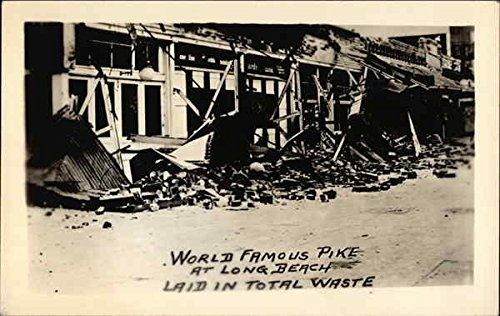California Earthquake, 6-24-25, World Famous Pike at Long Beach Laid in Total Waste Original Vintage - Long Beach At Pike