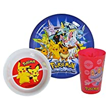 Pokemon Childrens/Kids Official 3 Piece Dinner Set (One Size) (Multicolored)
