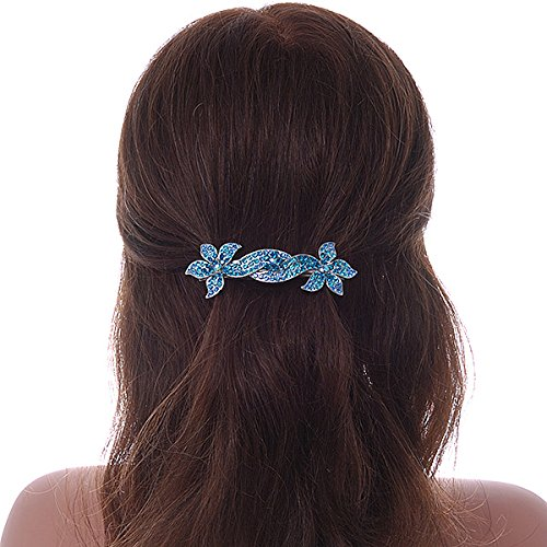 Avalaya mari/ée Mariage//argent/é Bleu Sarcelle//Bleu Diamante Double Fleur Barrette Pince /à Cheveux Grip/ /90/mm de diam/ètre