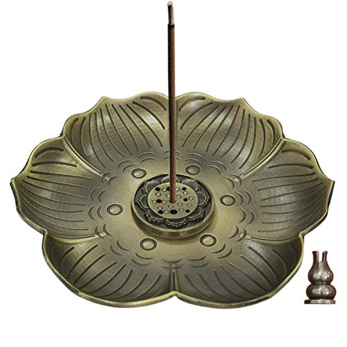 Big Size Brass Lotus Stick Incense Burner and Cone Incense Holder with 5.1 inches Ash Catcher 2019 Upgraded Version