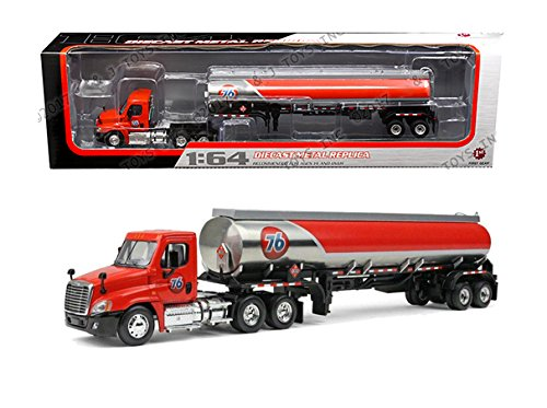 BRAND NEW DIECAST 1:64 FREIGHTLINER CASCADIA DAY-CAB WITH 42' FUEL TANK TRAILER - 76 GAS 60-0279 BY FIRST GEAR