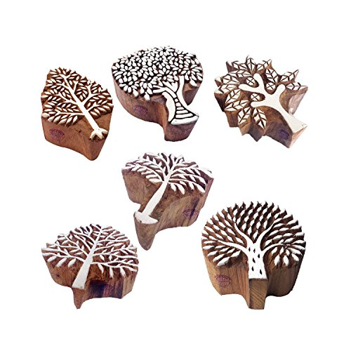 Royal Kraft Tree Pattern Wooden Stamps (Set of 6) to Make Henna Tattoos, Textile Block Prints, Scrapbook & Clay Projects