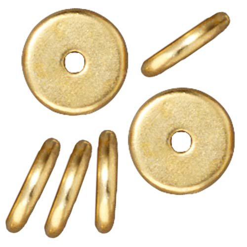 Bright 22K Gold Plated Lead-Free Pewter Disk Heishi Spacer Beads 8mm (10) - Heishi Spacer Beads