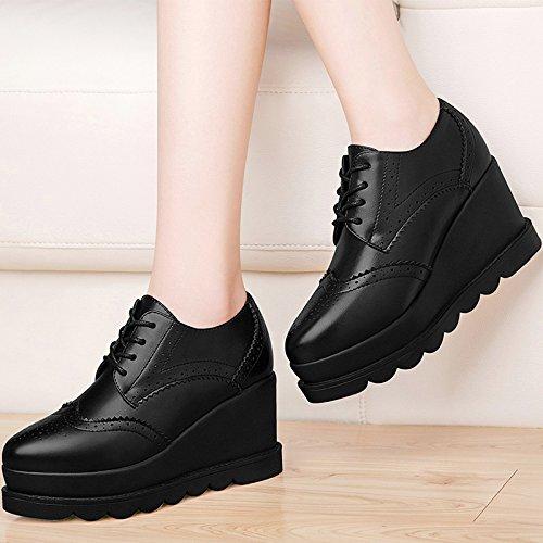 Zapatos De Fondo Grueso Zapatos KPHY Zapatos Profunda Marea Partido Coreano Con Muffin Y Cuñas De Mujer La Todo black De Escoge nPfqSYfOw