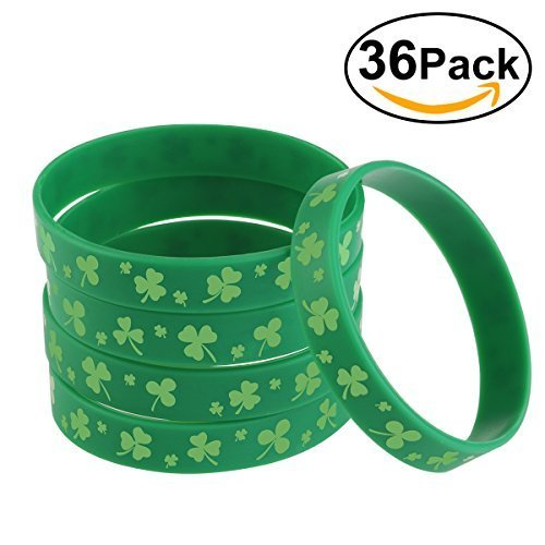 BESTOMZ Shamrock Bracelets for St. Patrick's Day Accessories Green Silicone Rubber 36 Pieces