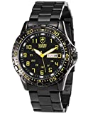 Shark Army Yellow SAW092 Date Day Black Stainless Steel Band Military Men's Quartz Sport Watch