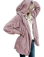 YACUN Women Fuzzy Fleece Hooded Cardigan Open Front Jacket Sherpa Coat Outwear with Pocket