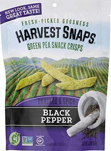 Harvest Snaps Green Pea Snack Crisps, Black Pepper, deliciously baked and crunchy veggie snacks with plant protein and fiber, 3.3-Ounce Bag (Pack of 12) ()