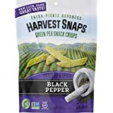 Harvest Snaps Green Pea Snack Crisps, Black Pepper, deliciously baked and crunchy veggie snacks with plant protein and fiber, 3.3-Ounce Bag (Pack of 12)