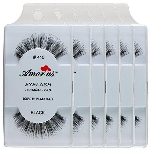 100% Human Hair False Eyelashes #415(pack of 6pairs) ////Why Pay More////