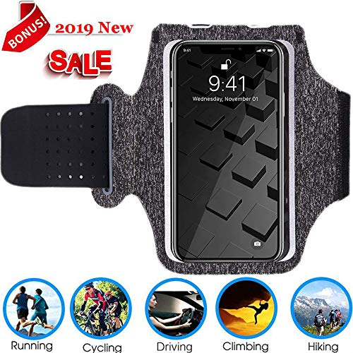 Running Armband, Cell Phone Running Armband for iPhone Xs ,X, 8 Plus, 7 Plus, 8/7/6s, Samsung Galaxy S9 Plus, S8 Plus, S9/S8/S7, Water Resistant Breathable Nylon Sport Armband for Walking, -