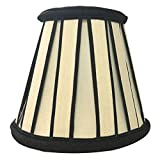 Royal Designs English Pleated Chandelier Lamp Shade - 3 x 5 x 4.5 - Eggshell and Black