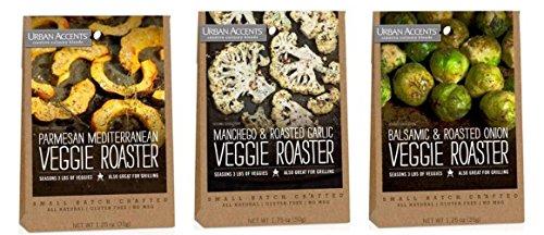 Gourmet Veggies - Urban Accents All Natural Gluten Free Veggie Roaster Vegetable Seasoning 3 Flavor Variety Bundle: (1) Urban Accents Balsamic & Roasted Onion Veggie Roaster, (1) Urban Accents Parmesan Mediterranean Veggie Roaster, and (1) Urban Accents Manchego & Roasted Garlic Veggie Roaster, 1.25-1.75 Oz. Ea.