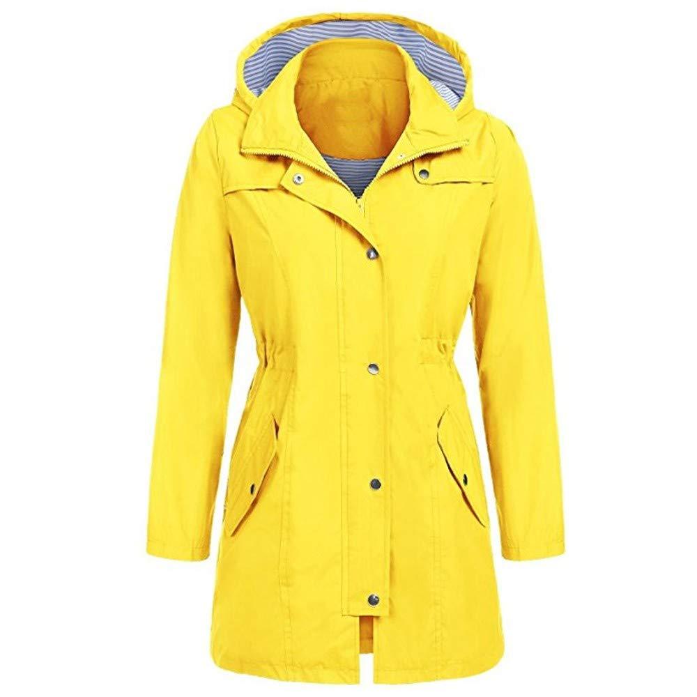 Clearance! Women's Rain Jacket Outdoor Hoodie Waterproof Hooded Slim Windproof Raincoat with Pocket (S, Yellow)