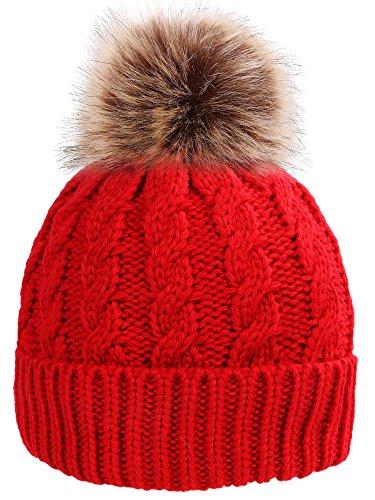 - Simplicity Men/Women's Winter Handcraft Knit Faux Fur Pom Beanie Hat Red