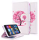 Lumia 435 Case, NageBee - Microsoft Lumia 435 Wallet Flip Case Pouch Cover Fold Stand case Premium Leather Wallet Flip Case (Wallet Butterfly tree)
