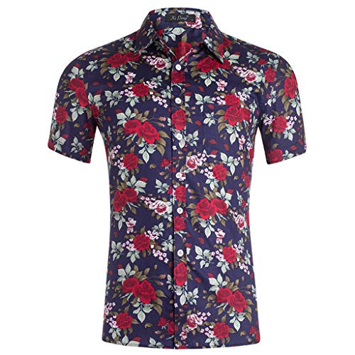 iHPH7 Shirt Cotton Button Down Short Sleeve Hawaiian Summer Casual Fashion 3D Color Print Trend Color Short-Sleeved Shirt Blouse Mens (L,4- Navy)]()