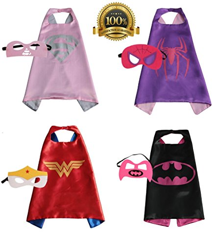 [Child Superhero Costume, Cape and Mask Set for Kids, Birthday Party DIY Children] (Heroes And Villains Dress Up)