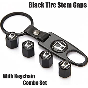 Free Shipping!high Quality Steel Car Air Tire Valve Caps and Black Keychain Combo Set for Honda