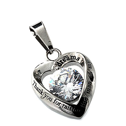 R.H. Jewelry Mother in Law Heart Stainless Steel CZ Pendant Necklace