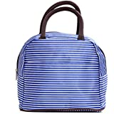 LA HAUTE Portable Lunch Bag Waterproof Oxford Fabric Lunch Tote Lunch Kit Durable Storage Bag (Blue Stripes) by LA HAUTE