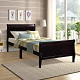 Wood Platform Bed Twin Bed Frame Mattress Foundation Sleigh Bed with Headboard/Footboard/Wood Slat Support by HARPER & BRIGHT DESIGNS